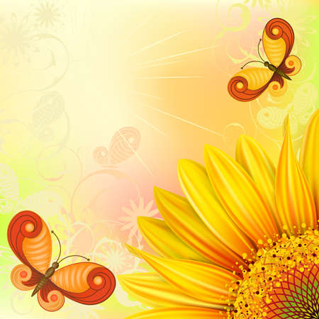 red sun: Summer yellow background with sunflowers and butterflies Clipping Mask