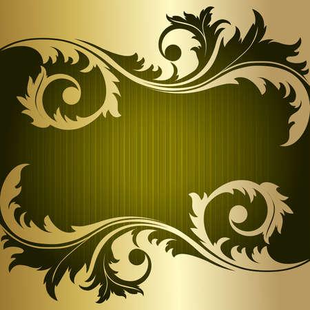 eleganz: Grünem retro gestreiften Hintergrund mit gold Pflanze Illustration