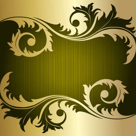 gold floral: Green retro striped background with gold plant
