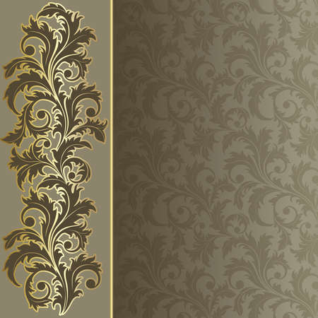 silk: Beige  retro background with  flowers and leaves Illustration