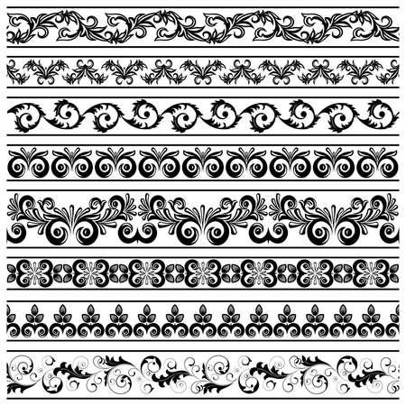 black swirls: Set from black  borders on the white background Illustration