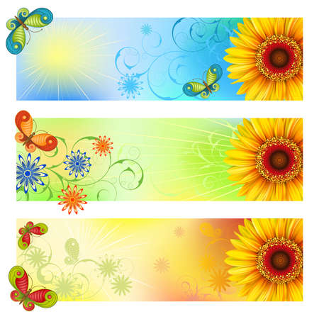 clipping mask: A set of three summer banners with sunflowers and butterflies Clipping Mask  Illustration