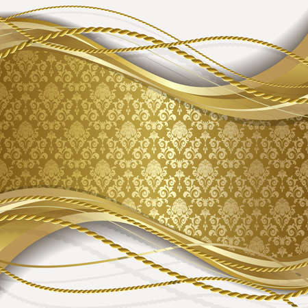 gold background: White background with gold flowers and leaves