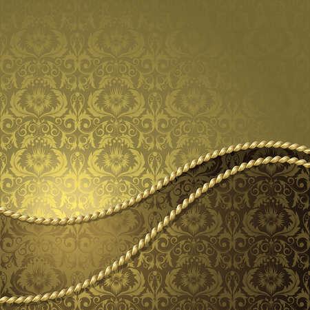 Brązowy tła z złota kwiatów i liści Ilustracje wektorowe