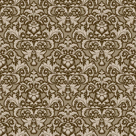 brown background: Seamless from leaves and flowers on brown background (can be repeated and scaled in any size)
