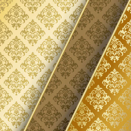 gold brown: Brown and gold background with abstract flowers and leaves