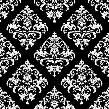 black damask: Seamless from leaves and flowers on black background (can be repeated and scaled in any size)