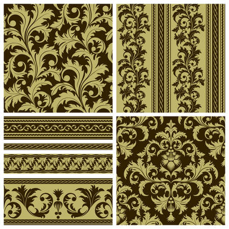 repeated: Set of seamless and borders from abstract brown plant(can be repeated and scaled in any size)