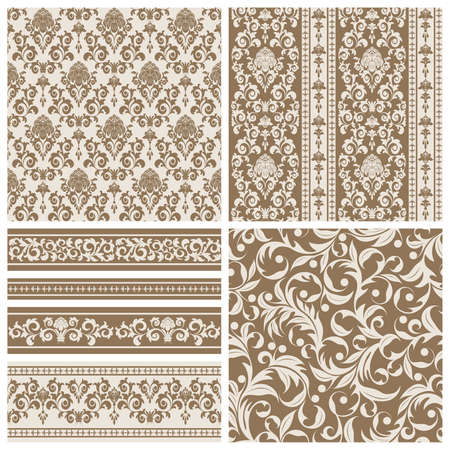 Set of seamless and borders from abstract beige plant(can be repeated and scaled in any size) Vector