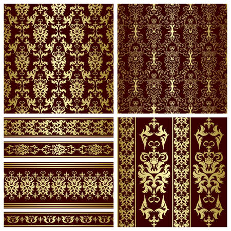 repeated: Set of seamless and borders from abstract gold plant(can be repeated and scaled in any size)