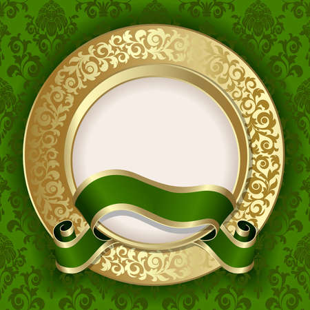 Retro frame on the green floral background Vector
