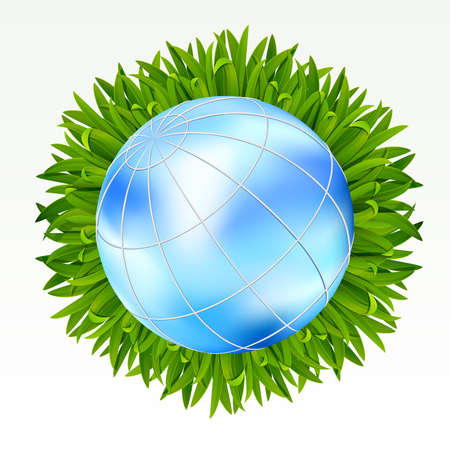 Earth with green grass on it on a white background. Mesh. Stock Vector - 9178498
