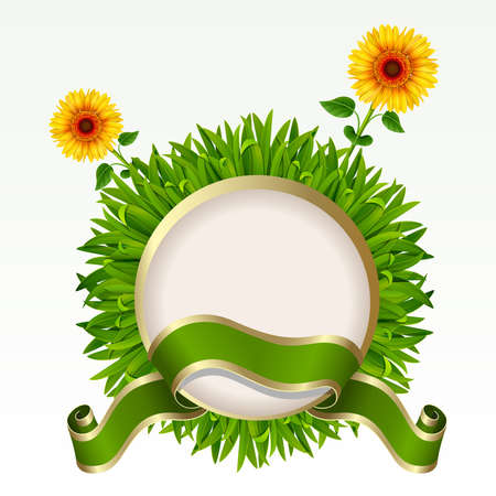 Frame with green grass and sunflowers on it on a white background. Mesh. Vector