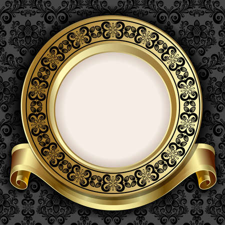 gold frame: Retro frame on the black floral background Illustration