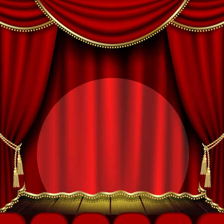 seats: Theater stage  with red curtain  Illustration