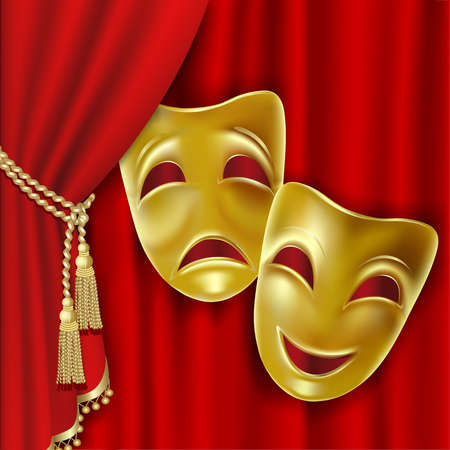 Theatrical mask on a red background. Mesh. Clipping Mask Vector