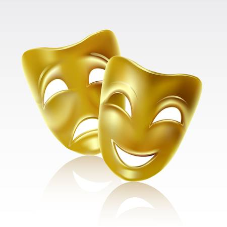 comedy: Theatrical mask on a white background. Mesh. Illustration