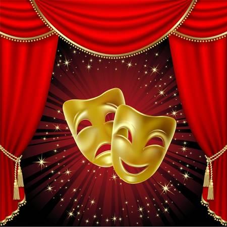 Máscara teatral sobre un fondo rojo. Malla  Ilustración de vector