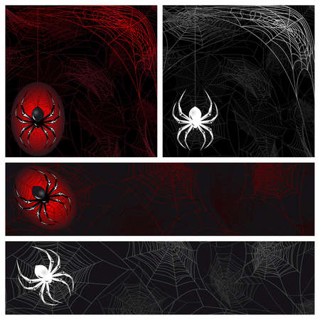 Set from autumn background with a spider's web Stock Vector - 9274574