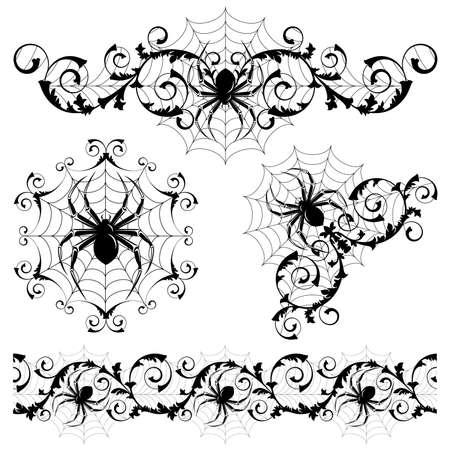 Set mit einer Spinne Webs und spider Illustration
