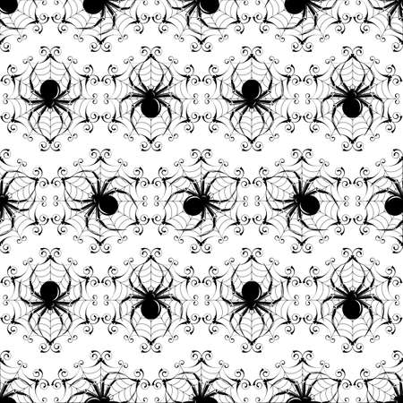 Halloween black seamless  with a spider's web (can be repeated and scaled in any size) Stock Vector - 9274571