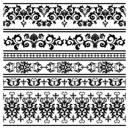 Set from black  borders on the white background Illustration