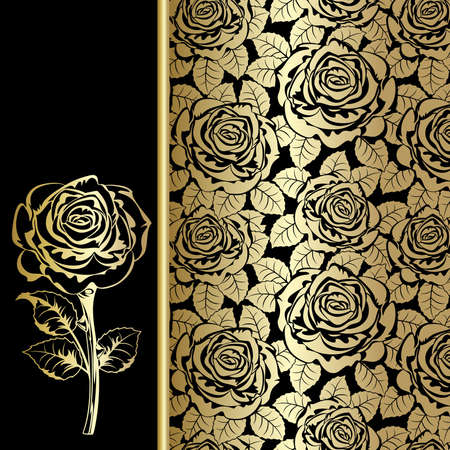 Black background with gold roses.
