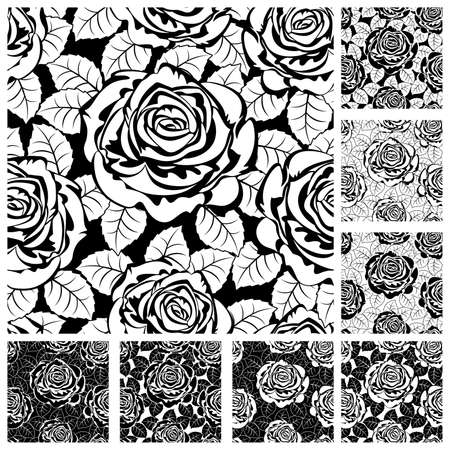 rosebuds: Set from seamless from roses and  leaves. Black and white(can be repeated and scaled in any size)
