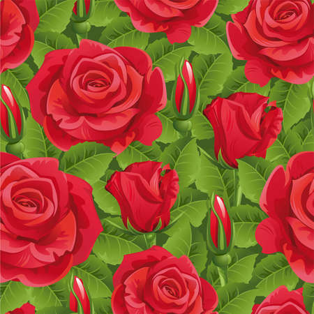 Seamless from red roses and green leaves.Clipping Mask.(can be repeated and scaled in any size)