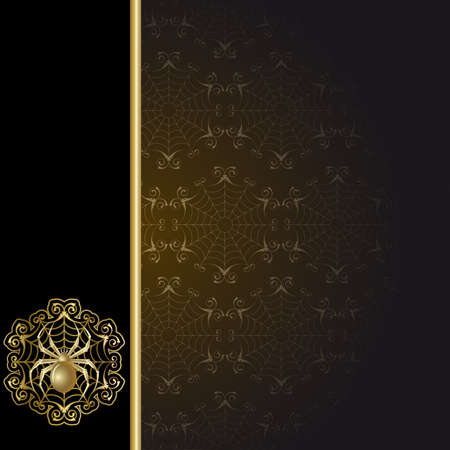 Gold-framed  with gold spider and web on the black background Vector