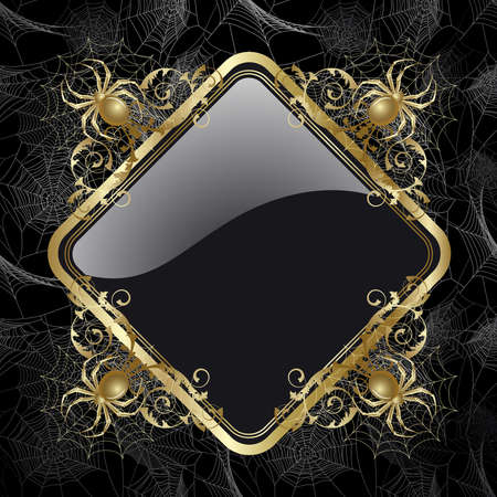 Gold-framed  with gold spider and web on the black background Stock Vector - 9339421