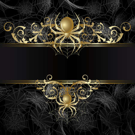 spider web: Gold-framed  with gold spider and web on the black background