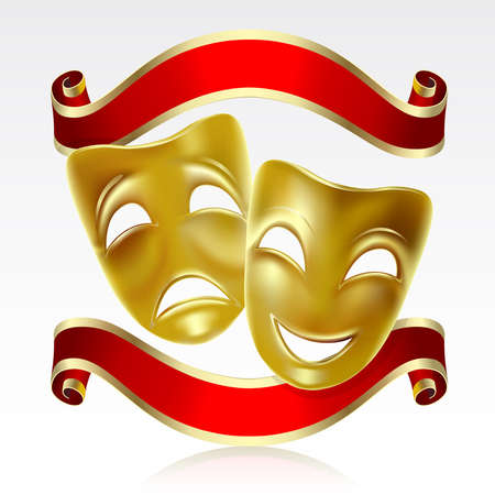 Theatrical mask with a red ribbon. Mesh.  Vector