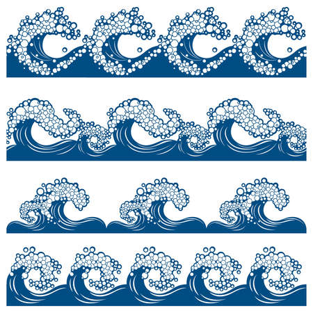 Set from of the four borders with the waves (can be repeated and scaled in any size) Stock Vector - 9567685