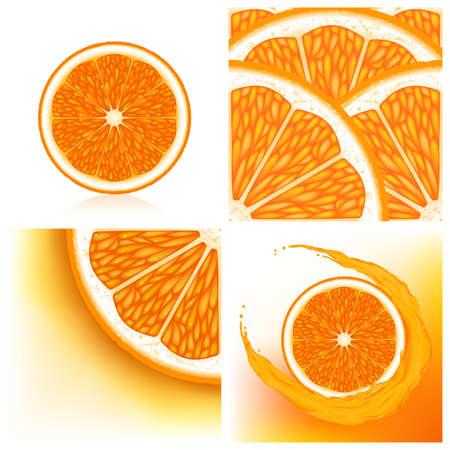 Set of orange background with orange halves Vector