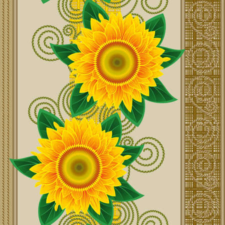 Seamless from orange sunflowers and green leaves Stock Vector - 9692045