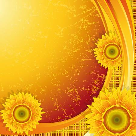 Orange background with a wave and sunflowers.Clipping Mask. Vector