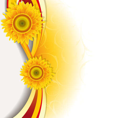 Orange background with a wave and sunflowers.