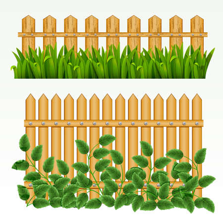 Border with  fence and grass green. (can be repeated and scaled in any size) Vector