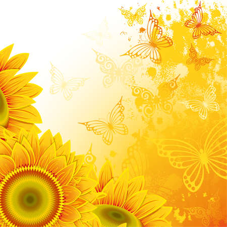 Orange background with sunflowers and  butterflies