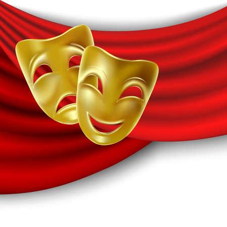 theatre: Theater-Maske mit einem roten Band. Netz.