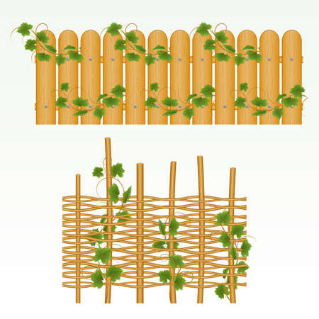 scaled: Border with  fence and grass green. (can be repeated and scaled in any size) Illustration