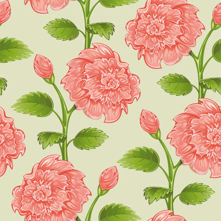 Seamless from pink peony and green leaves. Vector