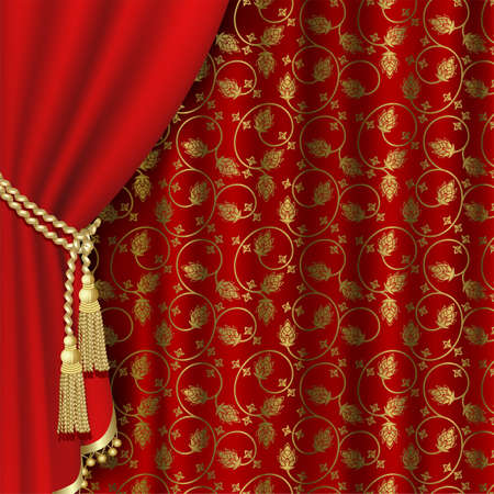 Red curtain with gold pattern. Vector