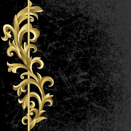 Black  grunge background with a plant of gold leaves