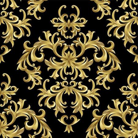 Naadloze van abstract goud plant. Clipping Mask. (Kan worden herhaald en geschaald in elk formaat)