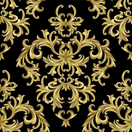 seamless damask: Seamless from abstract gold plant. Clipping Mask.(can be repeated and scaled in any size)