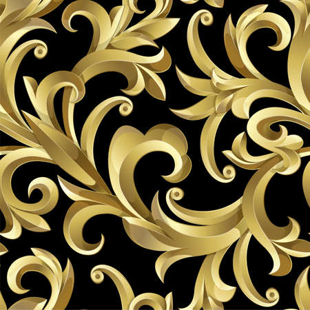 Seamless from abstract gold plant. Clipping Mask.(can be repeated and scaled in any size)