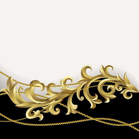 ornate gold frame: Black background with gold plants and rope.