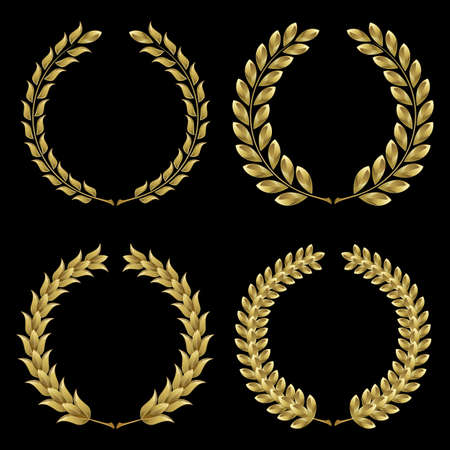 Set from  gold laurel wreath on the black background  Illustration